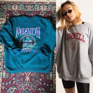 80s University of Maui Aqua Crewneck Sweatshirt